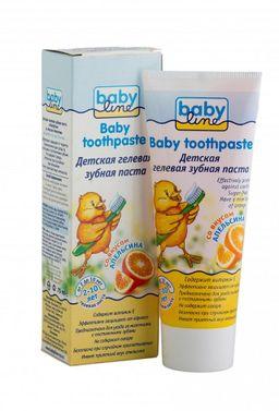 Babyline Зубная паста, гелевая, для детей от 2-х до 10 лет, паста зубная, со вкусом апельсина, 75 мл, 1 шт.