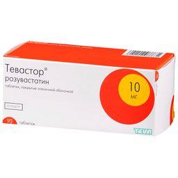 Тевастор, 10 мг, таблетки, покрытые пленочной оболочкой, 90 шт.