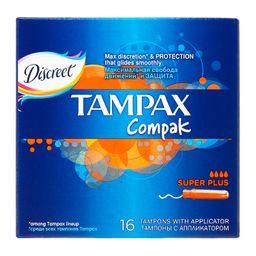 Tampax Compak super plus тампоны женские гигиенические с аппликатором, 16 шт.