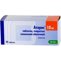 Аторис, 10 мг, таблетки, покрытые пленочной оболочкой, 90 шт.