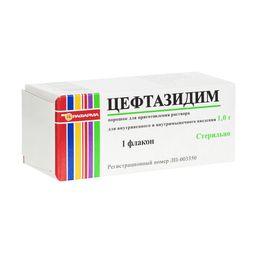 Цефтазидим, 1 г, порошок для приготовления раствора для внутривенного и внутримышечного введения, 1 шт.