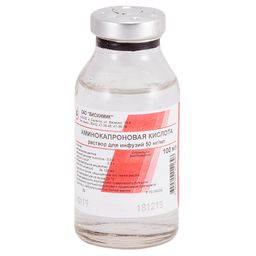Аминокапроновая кислота, 50 мг/мл, раствор для инфузий, 100 мл, 1шт.