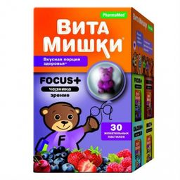 ВитаМишки Focus + черника, 2500 мг, пастилки жевательные, ассорти, 30шт.