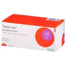 Тевастор, 20 мг, таблетки, покрытые пленочной оболочкой, 90 шт.