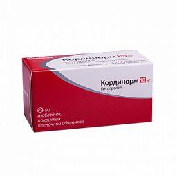 Кординорм, 10 мг, таблетки, покрытые пленочной оболочкой, 90шт.