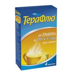 ТераФлю, порошок для приготовления раствора для приема внутрь, лимонные(ый), 22.1 г, 4 шт.