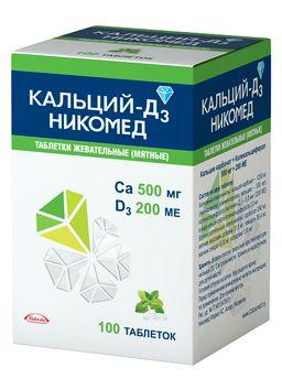 Кальций-Д3 Никомед, 500 мг+200 МЕ, таблетки жевательные, мятные, 100 шт.