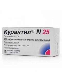 Курантил N 25, 25 мг, таблетки, покрытые пленочной оболочкой, 120 шт.
