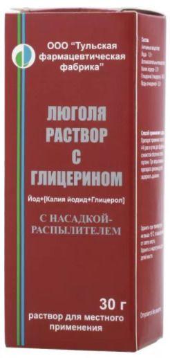 Люголя раствор с глицерином, раствор для местного применения, 30 г, 1шт.