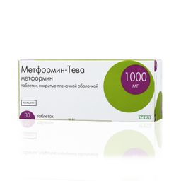 Метформин-Тева, 1000 мг, таблетки, покрытые пленочной оболочкой, 30 шт.
