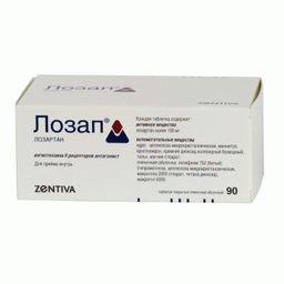 Лозап, 100 мг, таблетки, покрытые пленочной оболочкой, 90 шт.
