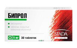 Бипрол, 5 мг, таблетки, покрытые пленочной оболочкой, 30 шт.