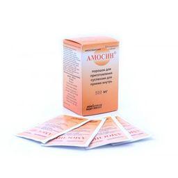 Амосин, 500 мг, порошок для приготовления суспензии для приема внутрь, 6 г, 10 шт.