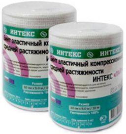 Интекс-Лайт Бинт эластичный компрессионный, 5мх8см, с застежкой, средней растяжимости, 1 шт.