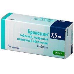 Бравадин, 7.5 мг, таблетки, покрытые пленочной оболочкой, 56 шт.