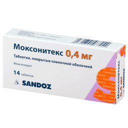Моксонитекс, 0.4 мг, таблетки, покрытые пленочной оболочкой, 14 шт.