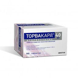 Торвакард, 40 мг, таблетки, покрытые пленочной оболочкой, 90 шт.