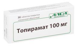 Топирамат, 100 мг, таблетки, покрытые пленочной оболочкой, 30шт.