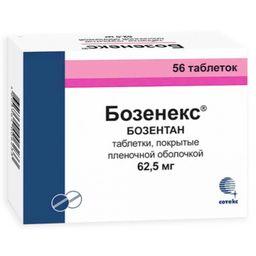 Бозенекс, 62.5 мг, таблетки, покрытые пленочной оболочкой, 56шт.