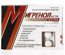 Мигренол Экстра, таблетки, покрытые пленочной оболочкой, 8 шт.