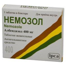 Немозол, 400 мг, таблетки жевательные, 1шт.