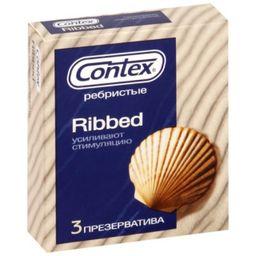Презервативы Contex Ribbed, презерватив, с ребрами и пупырышками, 3 шт.