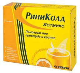 Риниколд ХотМикс, порошок для приготовления раствора для приема внутрь, с апельсиновым вкусом, 5 г, 5 шт.
