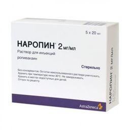 Наропин, 2 мг/мл, раствор для инъекций, 20 мл, 5 шт.