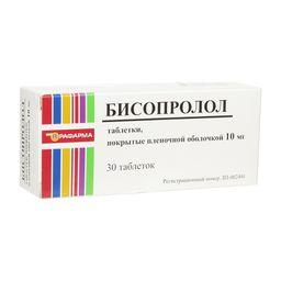 Бисопролол, 10 мг, таблетки, покрытые пленочной оболочкой, 30 шт.