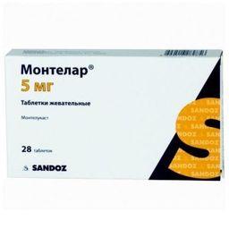 Монтелар, 5 мг, таблетки жевательные, 28 шт.