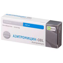 Азитромицин-OBL, 250 мг, капсулы, 6 шт.