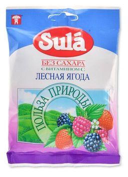 Sula карамель леденцовая без сахара, с ароматом лесных ягод, 60 г, 1 шт.