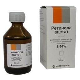 Ретинола ацетат, 3.44%, раствор для приема внутрь и наружного применения (масляный), 50 мл, 1 шт.