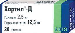 Хартил-Д, 2.5 мг+12.5 мг, таблетки, 28шт.