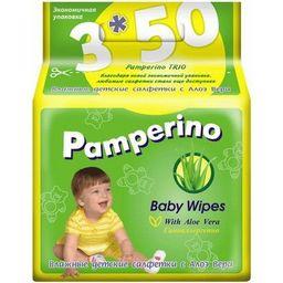 Салфетки влажные детские Pamperino с Алоэ Вера, салфетки гигиенические, 150шт.