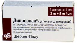 Дипроспан, 7 мг/мл (2 мг+5 мг/мл), суспензия для инъекций, 1 мл, 1 шт.