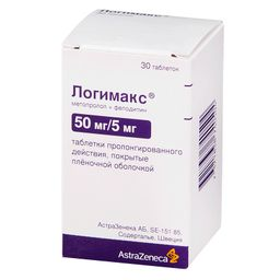 Логимакс, 50 мг+5мг, таблетки пролонгированного действия, покрытые оболочкой, 30 шт.