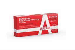 Валсартан-Гидрохлоротиазид-Акрихин, 80 мг+12.5 мг, таблетки, покрытые пленочной оболочкой, 28 шт.