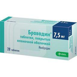 Бравадин, 7.5 мг, таблетки, покрытые пленочной оболочкой, 28шт.