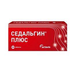 Седальгин Плюс, 500 мг+50 мг+38.75 мг, таблетки, 20шт.
