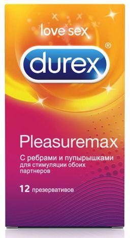 Презервативы Durex Pleasuremax, презерватив, с ребрами и пупырышками, 12 шт.