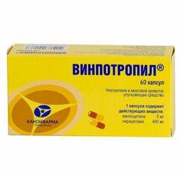 Винпотропил, 5 мг+400 мг, капсулы, 60шт.
