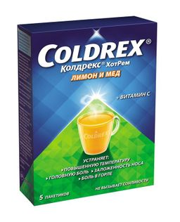 Колдрекс Хотрем, порошок для приготовления раствора для приема внутрь, медово-лимонные(й), 5 г, 5шт.