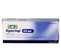 Крестор, 40 мг, таблетки, покрытые пленочной оболочкой, 28 шт.