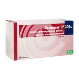 Квентиакс СР, 300 мг, таблетки пролонгированного действия, покрытые пленочной оболочкой, 60 шт.