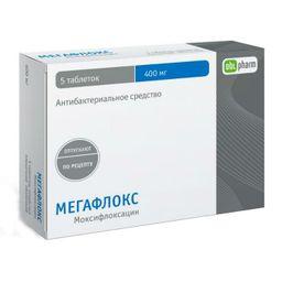 Мегафлокс, 400 мг, таблетки, покрытые пленочной оболочкой, 5шт.