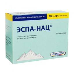Эспа-Нац, 600 мг, порошок для приготовления раствора для приема внутрь, 3 г, 20 шт.