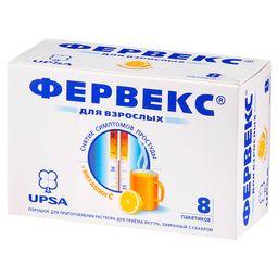 Фервекс, 500 мг+25 мг+200 мг, порошок для приготовления раствора для приема внутрь, лимонный с сахаром, 13.1 г, 8шт.