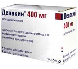 Депакин, 400 мг, лиофилизат для приготовления раствора для внутривенного введения, в комплекте с растворителем, 4 мл, 4шт.