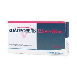 Коапровель, 12.5 мг+300 мг, таблетки, покрытые пленочной оболочкой, 28шт.
